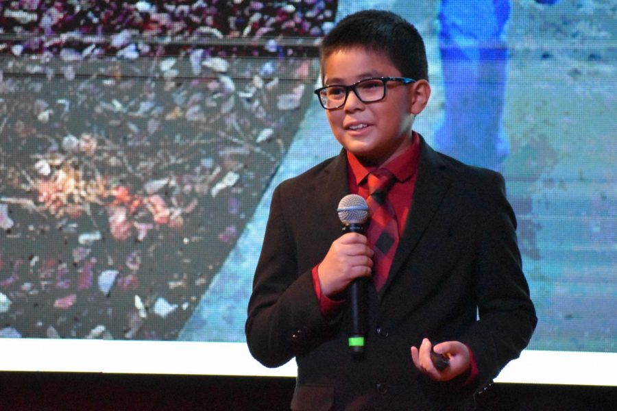 """Kiyohsi Ito, sixth grader at Michael E. Fossum Middle School in McAllen, Texas presents his talk, """"A Challenge to Be Thankful."""""""