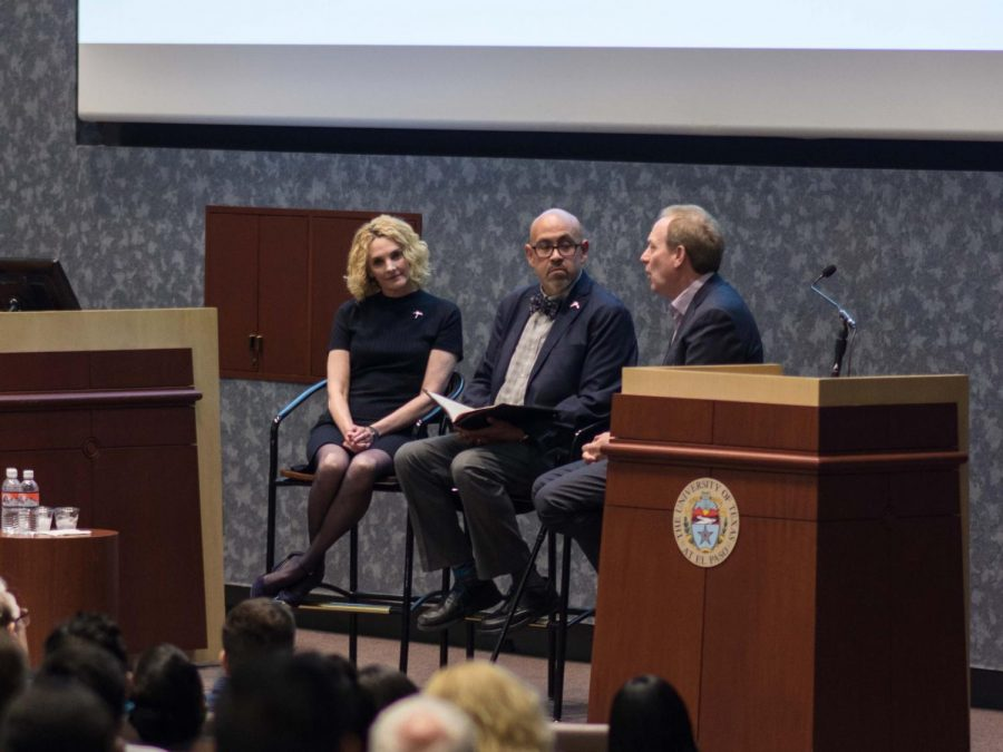 Professor Richard D. Pineda interviewing Brad Smith and Coral Ann Browne at the University of Texas at El Paso Monday Oct. 14, 2019.