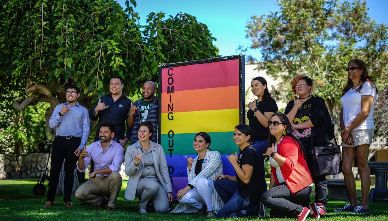 National Coming Out Day group photo at the Liberal Arts Lawn on Thursday, Oct. 10.
