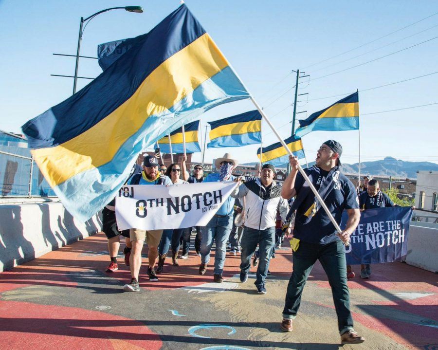 El+Paso+Locomotive+FC+fans+of+the+8th+notch+do+its+game+day+ritual+across+Durango+bridge+Oct.+15.