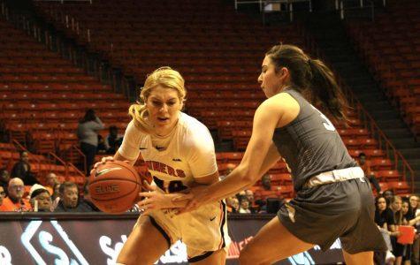 Senior Katarina Zec plays against Western New Mexico University at  the Don Haskins Center on Oct. 26, 2019.