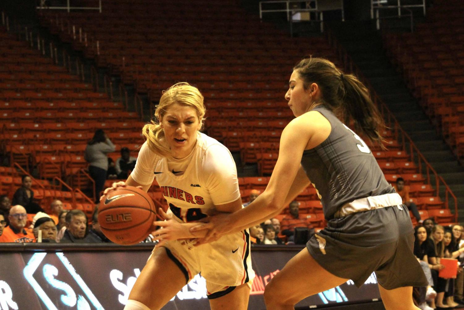 Senior Katarina Zec plays against Western New Mexico University at  the Don Haskins Center on Oct. 26, 2019.