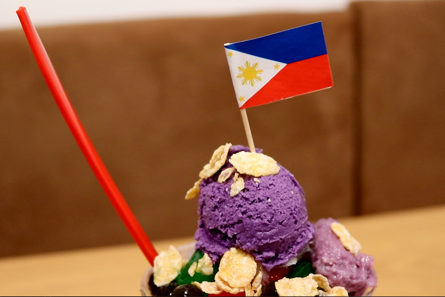 Halo Halo Filipino Food, stays true to its name by serving Halo Halo, a popular Filipino cold dessert with ingredients that include, crushed ice, sweet beans, gelatin, corn flakes, Halayang Ube, flan and ice cream.