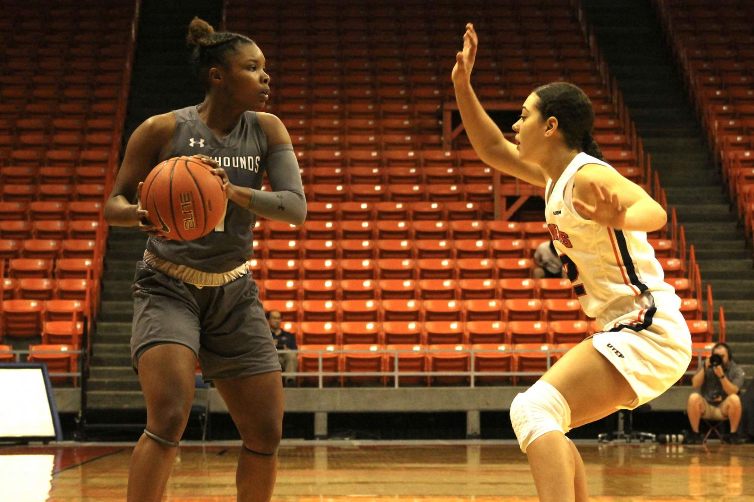 Junior Tia Bradshaw plays at the Don Haskins Center on Oct. 26, 2019.
