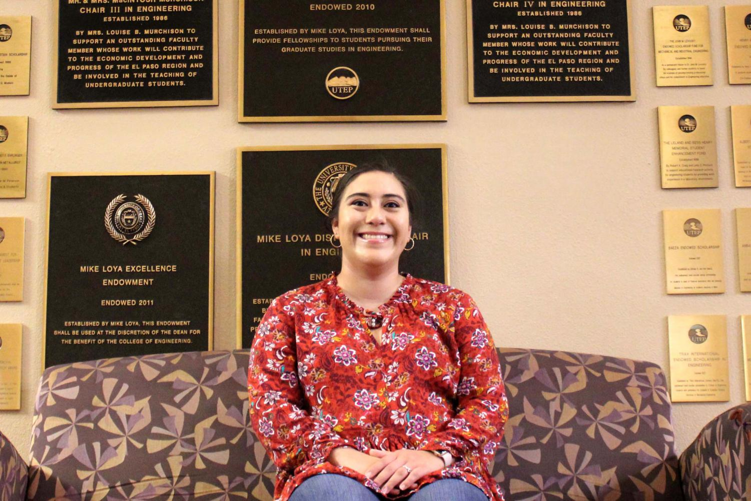Senior Aibhlin Esparza at the College of Engineering Building.