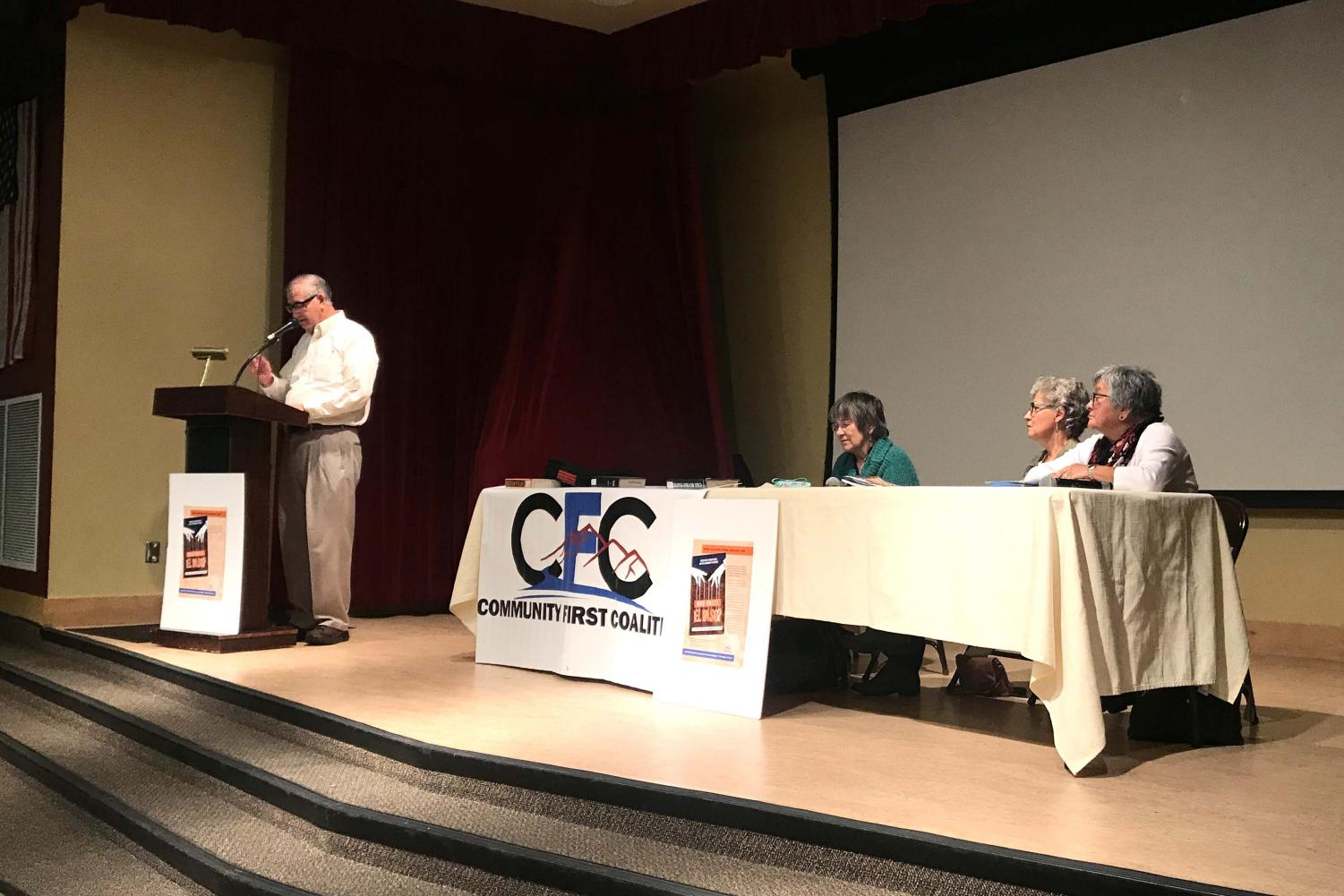 """Oscar J. Martínez, scholar and expert on borderlands history, welcoming the audience to a discussion on the newly released book """"Who Rules El Paso?"""" Sunday, Dec. 15 at the Downtown El Paso Public Library."""