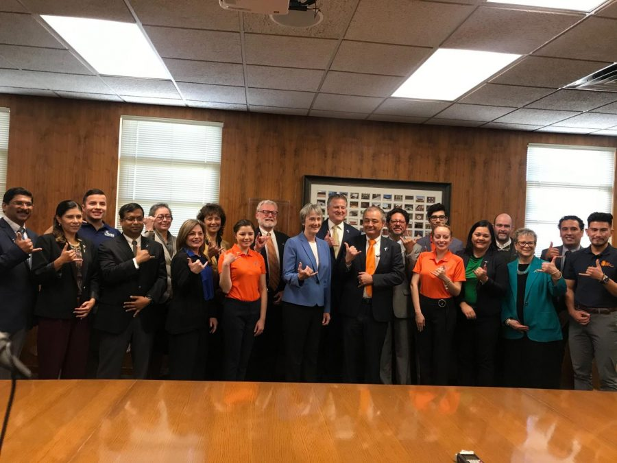 UTEP President Heather Wilson joined by students, administrators and faculty at the formal announcement of UTEP's research expenditure milestone of $100 million.