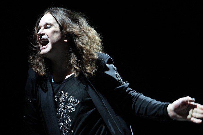 English singer, songwriter, actor and television personality Ozzy Osbourne at a concert.