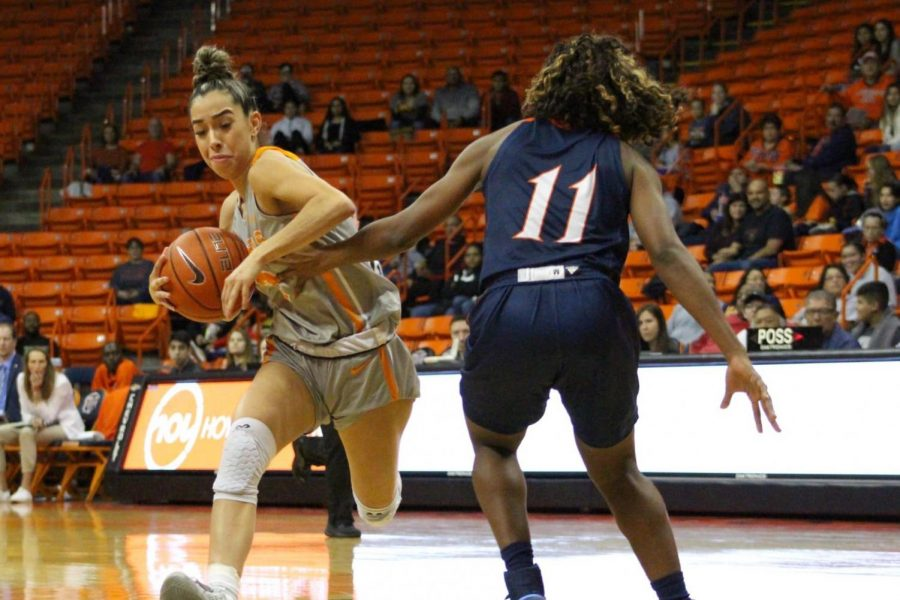UTEP freshman guard Katia Gallegos fends off defender for ball against UTSA at Don Haskins Center Saturday, Jan. 18, 2019.