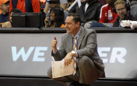 UTEP women's basketball head coach Kevin Baker gives a thumbs up to his team in its 94-54 win over UTSA at the Don Haskins Center.