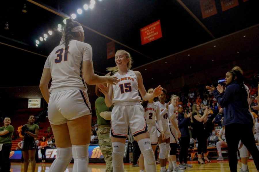 UTEP+freshman+guard+Avery+Crouse+is+introduced+in+the+starting+lineup+Jan.+23+at+the+Don+Haskins+Center.