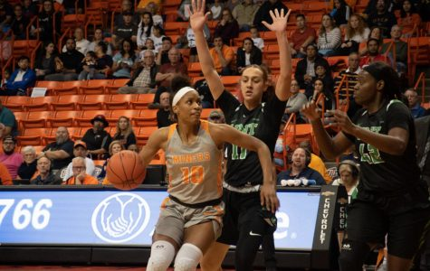 UTEP senior forward Jade Rochelle makes a move to basket versus North Texas at the Don Haskins Center.