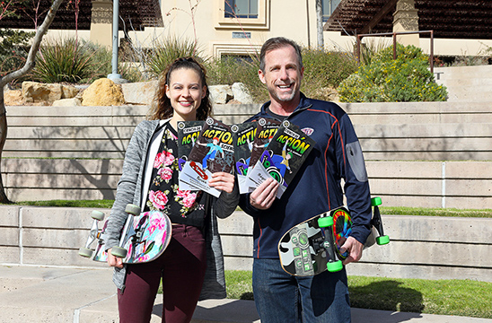 Bill Robertson, Ph.D., professor of teacher education, right, and Tania Sanchez, collaborated on two issues of a four-part graphic novel that aims to teach scientific principles to middle school students. Sanchez, the books' artist, earned her bachelor's degree in mathematical sciences in December 2019.