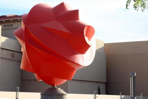 "Acclaimed Mexican sculptor Sebastián created a piece designed especially for UTEP titled ""Esfera Cuántica Tlahtolli."""