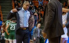 After receiving a technical foul UTEP Head Coach Rodney Terry removes his jacket as frustrations rise versus UAB Feb.1.