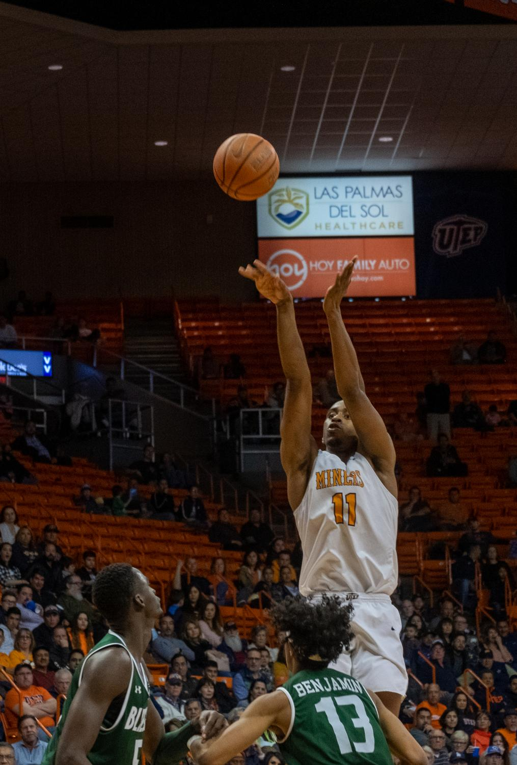 Junior forward Bryson Williams shoots over UAB defenders in loss Feb. 1.