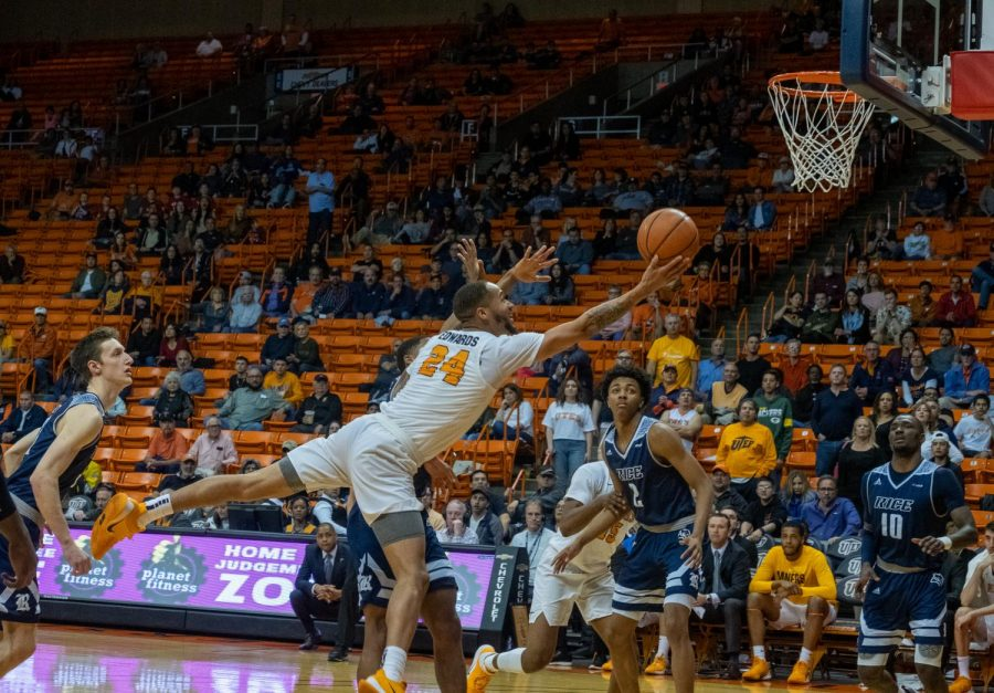 UTEP senior guard Darryl Edwards drives to basket  en route to scoring a career high 34 points versus Rice Saturday, Feb. 22.