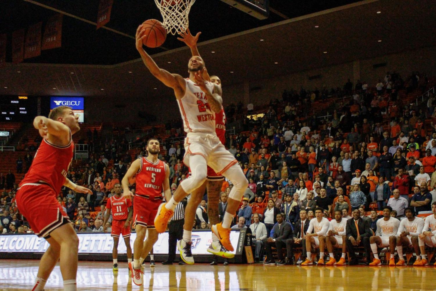 UTEP graduate transfer guard Daryl Edwards goes for a reverse layup versus Western Kentucky Feb. 13 at the Don Haskins Center.