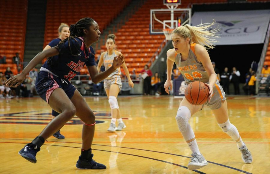 Senior forward Katarina Zec pushes the ball up court in win versus Florida Atlantic Jan. 4 at the Don Haskins Center.