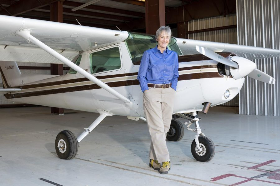 UTEP President Heather Wilson with her Cessna 152 at Santa Teresa Airport