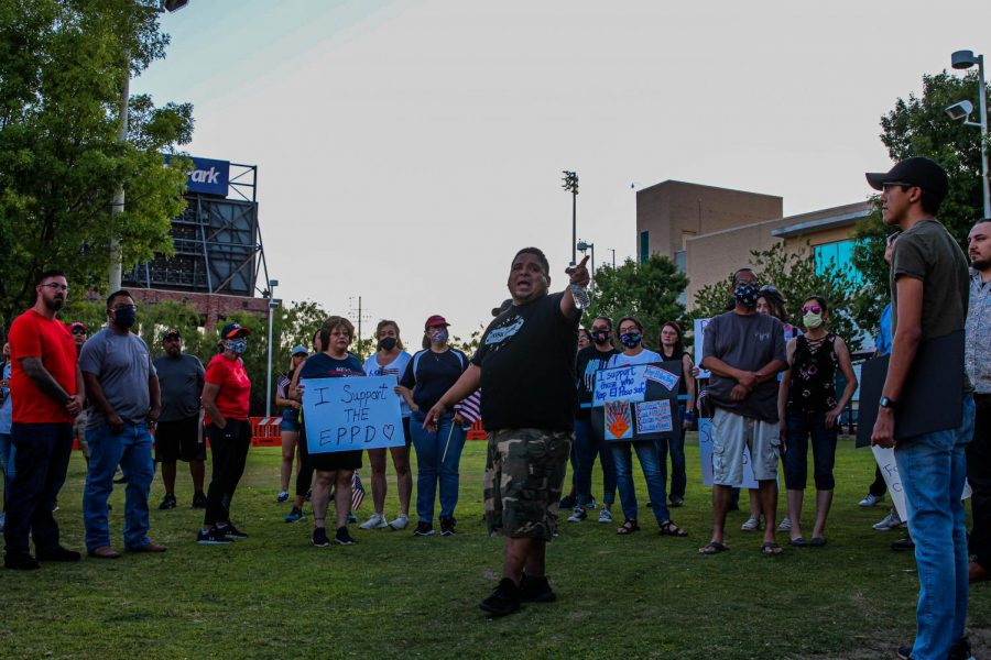 Counter protester to the  Defund the Police march  shows his  support for El Paso Police Department Wednesday June 10 at Cleveland Square.