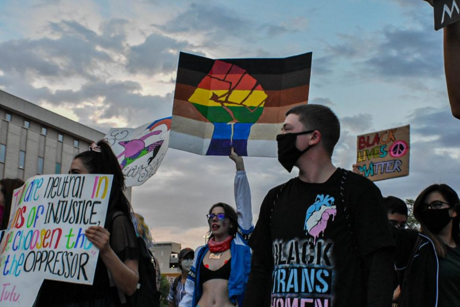 Members of the LGBTQI community  and others march through  Downtown El Paso June 13, 2020.