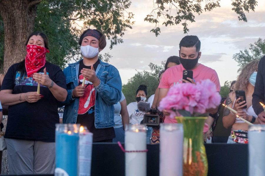 The crowd pays respect for the loss of Private First Class Vanessa Guillen during candlelight Vigil at Tobin Park July 2,2020.
