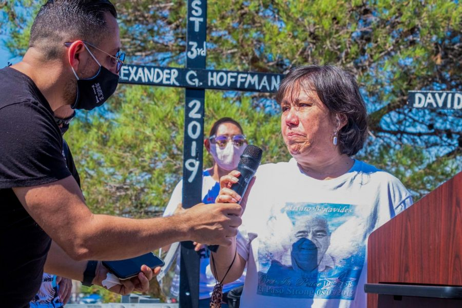 Patricia Benavides who lost her husband Arturo in last year's Cielo Vista Walmart shooting addresses those paying respects Aug. 3, 2020.
