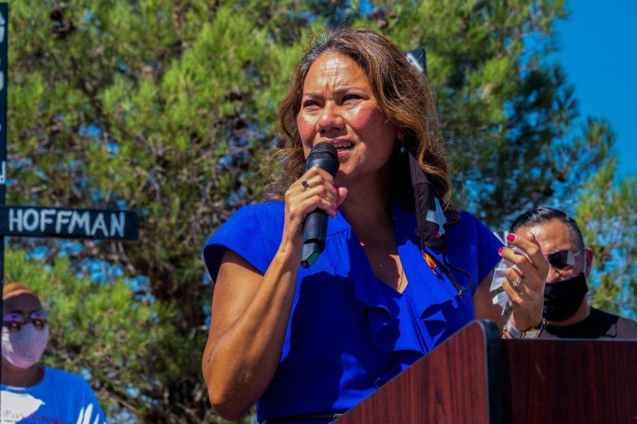 U.S. Congresswoman Veronica Escobar addresses the memorial ceremony honoring the 23 victims of the Walmart shooting Aug. 3, 2020.