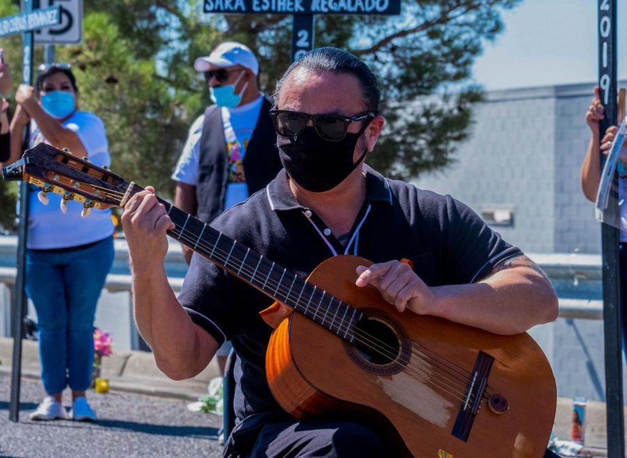 Pancho Mendoza plays Amor Eterno in honor of the 23 walmart shooting victims that lost their life one year ago in a mass shooting Aug. 3, 2020.