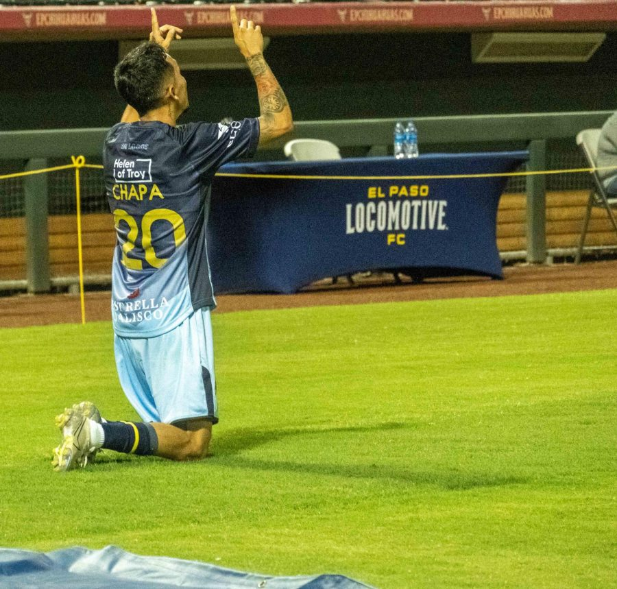 El Paso native Louis Chapo  Herrera celebrates his first goal of the season for the Locomotive versus Colorado Springs Saturday Aug. 8, 2020.