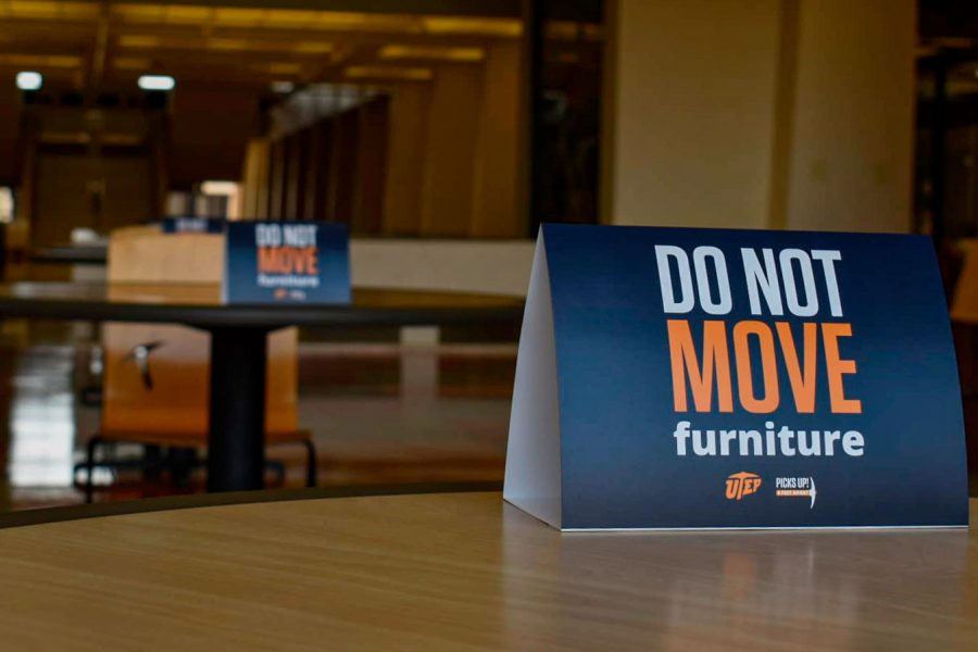Sign at one of the tables located in the Union building West Monday Aug. 24.