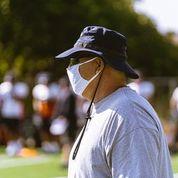UTEP Head Coach Dana Dimel overseas day one of team practice at Glory Field Aug. 16, 2020.