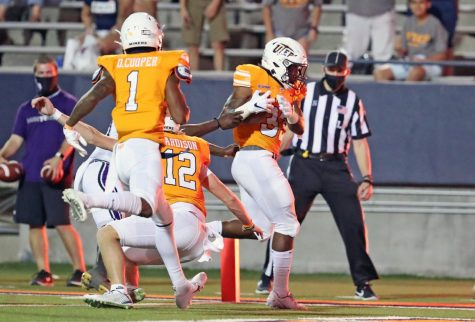 UTEP redshirt freshman Deion Hankins  scores his first touchdown versus Stephen F. Austin Saturday Sept. 5.