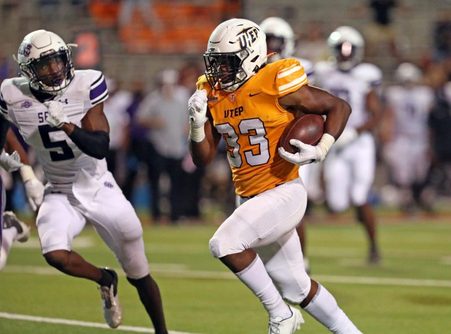 UTEP Redshirt  freshman running back Deion Hankins rushed for over 100 yards versus Stephen F. Austin Sept. 5. 2020.