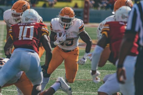 UTEP freshman running back breaks through the Louisiana- Monroe defense for a gain enroute to three touchdowns and 118 yards rushing in a 31-6 win Sept. 26.