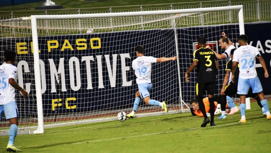 El+Paso+Locomotive+defender+Andrew+Fox+and+teammates+celebrate+as+another+goal+goes+into+the+United+net+Saturday+Sept.+5.