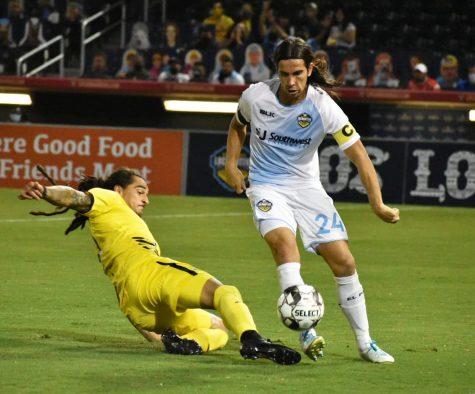 El Paso Locomotive Midfielder Yuma Monsalvez plays against New Mexico United at Southwest University Park on Saturday Sept. 26,2020.