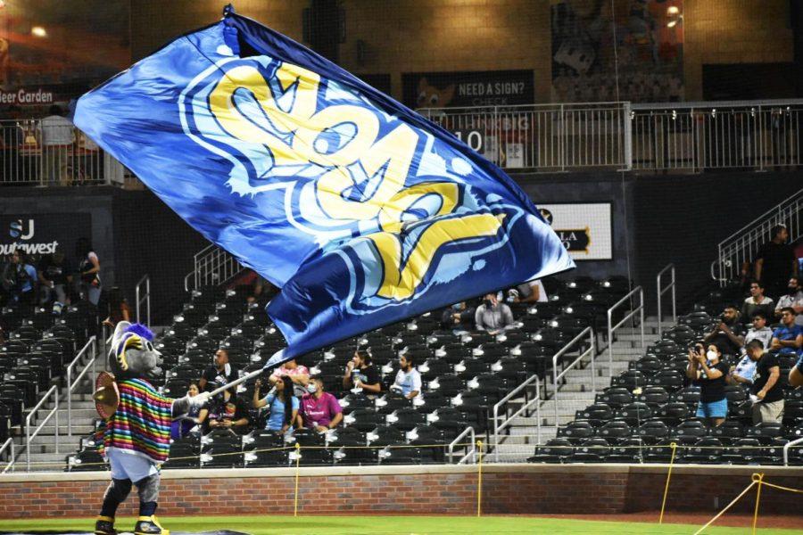 The El Paso Locomotive's mascot  Ozzy helps the crowd celebrate a goal versus San Antonio Sept 12.