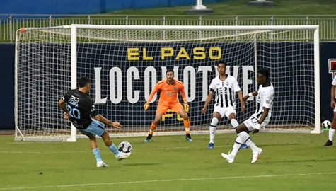 El Paso Locomotive Midfielder Louis Herrera looks for an opportunity of the first goal of the night at Southwest University Park, Wednesday, Sept. 16, 2020.