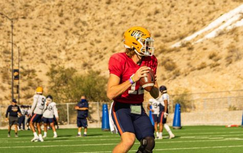UTEP sophomore  starting quarterback Gavin Hardison  practices at Glory Field  Oct. 6.