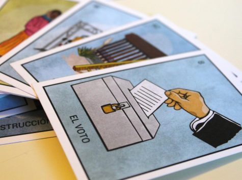 """La Migra (""""The Border Patrol"""") and La Estrella (""""The Star"""") are playing cards found in the El Paso-themed version of the famous Mexican board game lotería."""