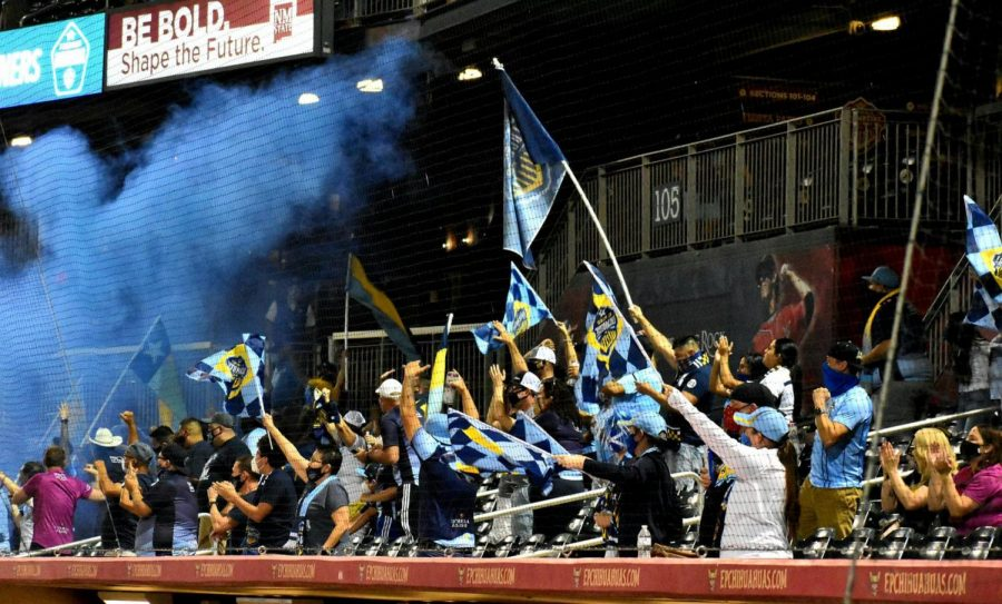 El Paso Locomotive fans cheer on their winning team after emerging victorious over New Mexico United Saturday Oct. 17.