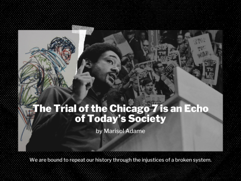 The film is based on the infamous 1969 trial of seven defendants charged by the federal government with conspiracy and more arising from the countercultural protests in Chicago at the 1968 Democratic National Convention. Illustration by Hugo Hinojosa.