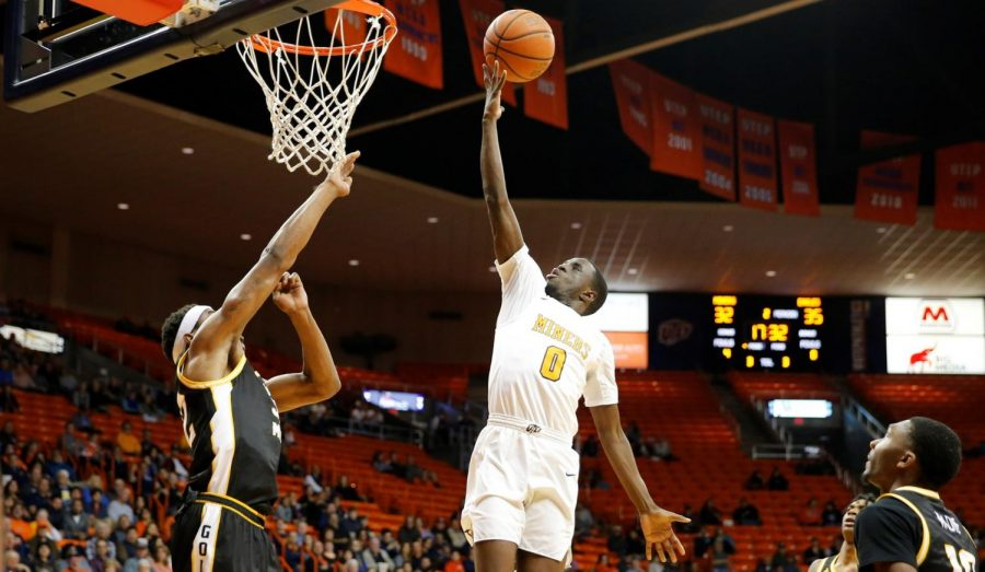 UTEP guard Souley Boum stretches a shot to the rim versus Southern Mississippi, Jan. 9.