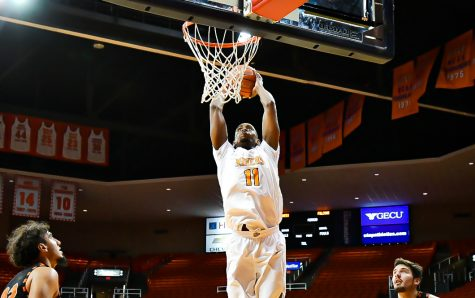 UTEP senior forward Bryson Williams throws down a thunderous dunk on an aggreisive break to basket against the University of Texas at Permian Basin Nov. 26.