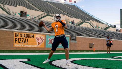 UTEP sophomore quarterback Calvin Brownholtz warms up before his first career start versus North Texas Dec. 12,.
