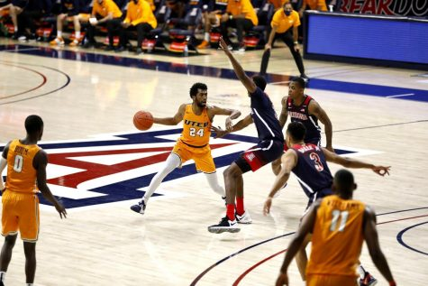 UTEP junior point guard Jaml Bienemy works around a defender against Arizona Dec. 12.