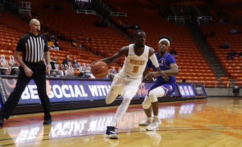 UTEP junior guard,  Souley Boum works his way past a Bulldog defender in a matchup with Louisiana Tech Jan. 22.
