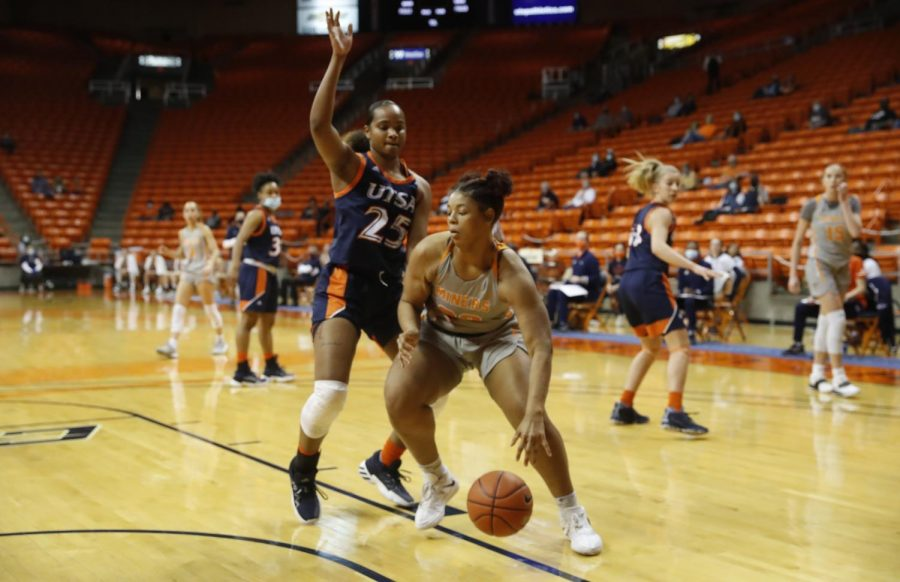 UTEP senior center Michelle Pruitt drives to the paint against a UTSA defender in a win over the Roadrunners Jan. 28.